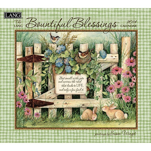 Bountiful Blessings by Susan Winget boldly displays captivating floral displays paired with inspirational text. Industry rated as the #1 calendar since 1999, LANG Wall Calendars are the most popular brand among consumers year after year. http://www.calendars.com/Assorted-Folk-Art/Susan-Winget-Bountiful-Blessings-2014-Wall-Calendar/prod201400005195/?categoryId=cat00033=cat00033