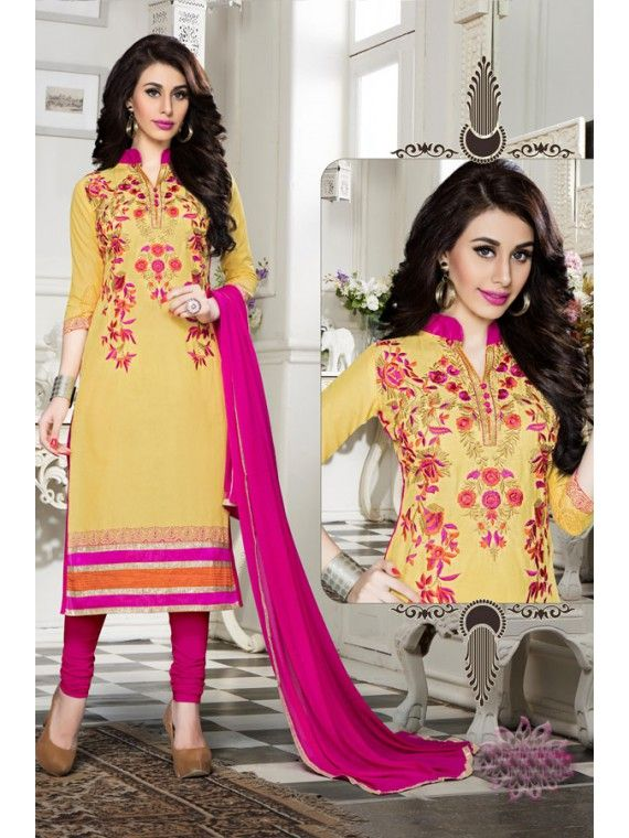 Alluring Yellow And Pink Embroidered Salwar suit