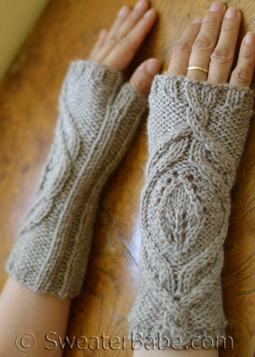 One-Ball Cabled Fingerless Gloves. Seamless and quick!