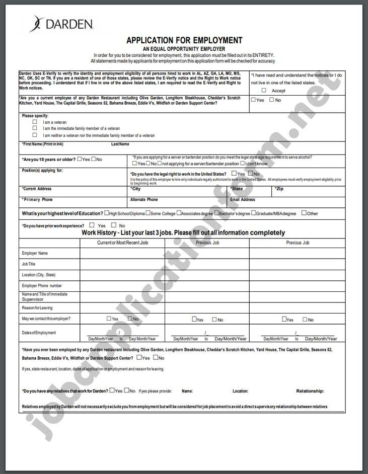 Below You Can Find The Printable Job Application Form Of Yard House Print The Document And Fill It Out With Your Pen The