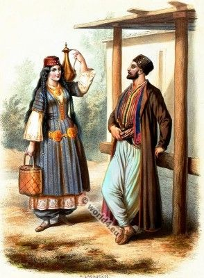 Traditional Crimean Tatars costumes 1850s.