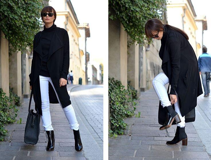 Białe spodnie i czarny płaszcz - klasycznie - CAMMY - Blog o modzie | lifestylowy | o życiu | poradnik | motywacja