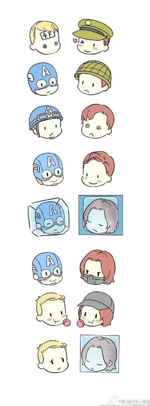 The evolution of Steve and Bucky- okay but Steve looks so freaking sad in the last one I can't
