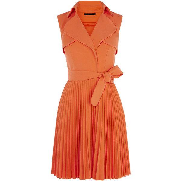 PLEATED TRENCH DRESS found on Polyvore featuring dresses, v neck dress, waist belts, v-neck dresses, red orange dress and orange dress