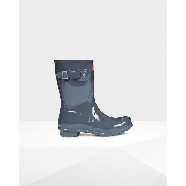 Hunter Women's Original Short Gloss Wellington Boots Gray is on sale in the  hunter boots online outlet store that sell the cheap hunter boots.