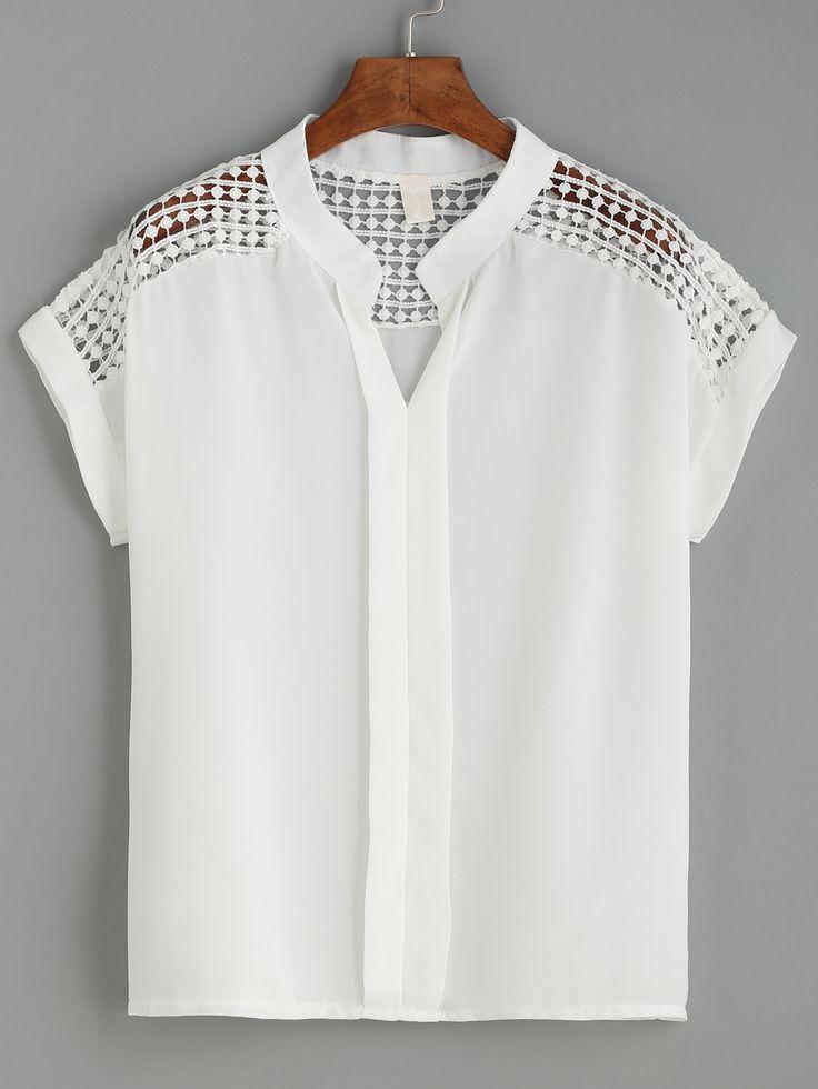 Shop White Dot Crochet Yoke Layered Placket Blouse online. SheIn offers White…