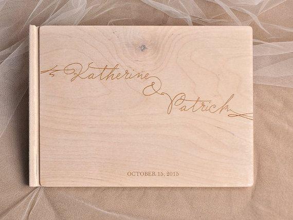 Custom Wood Wooden Wedding Guest Book Modern by forlovepolkadots