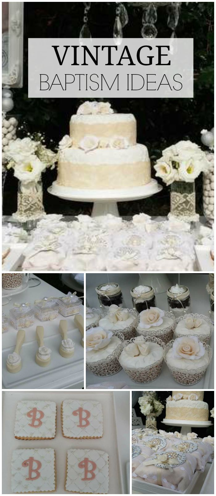 A lovely vintage baptism party in white with lots of floral touches! See more party planning ideas at CatchMyParty.com!