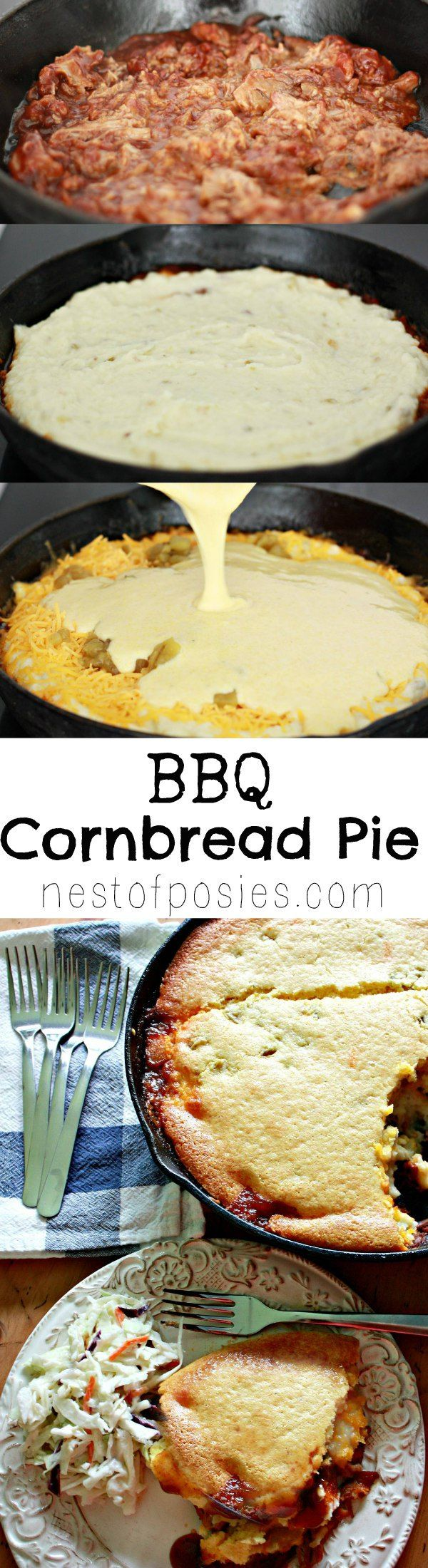 BBQ Cornbread Pie. Hickory Smoked BBQ layered with green chili mashed potatoes, cheese and cornbread. So delicious.