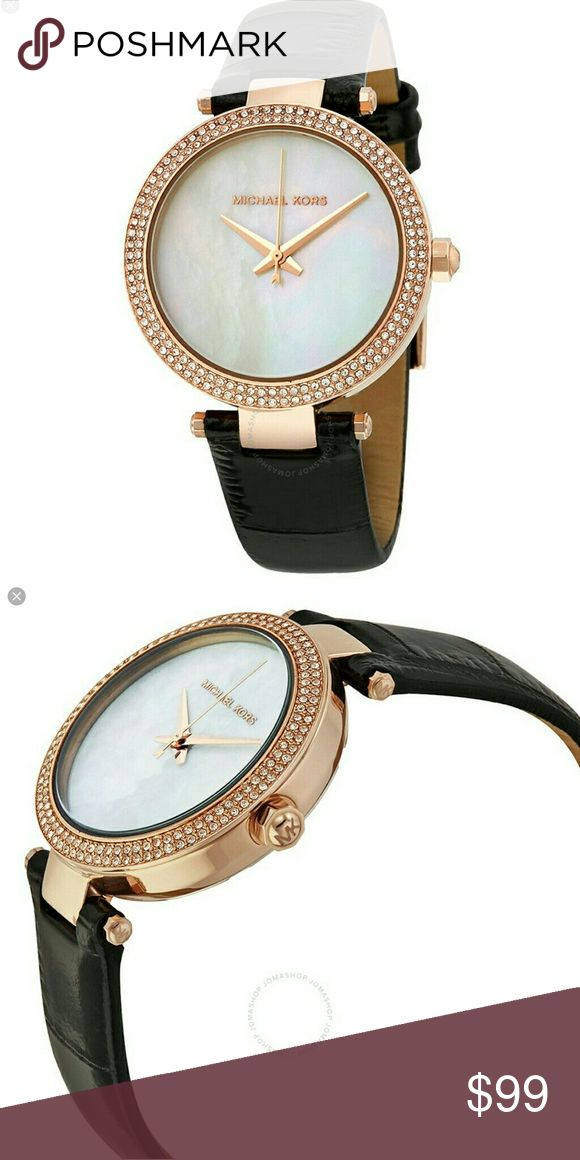 Micheal michael kors  mk2591ladies watch nwt box Mother opearlace lfRose goldtone and black leather 3 handwatch  (eb) dhn 1 MICHAEL Michael Kors Accessories Watches