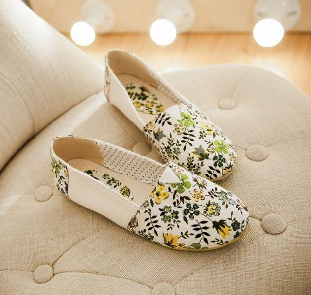Hot sales vrouwen schoenen mode afdrukken leer canvas platte schoenen vrouwelijke bloemen leisure schoenen comfortabele casual light vrouwen platte