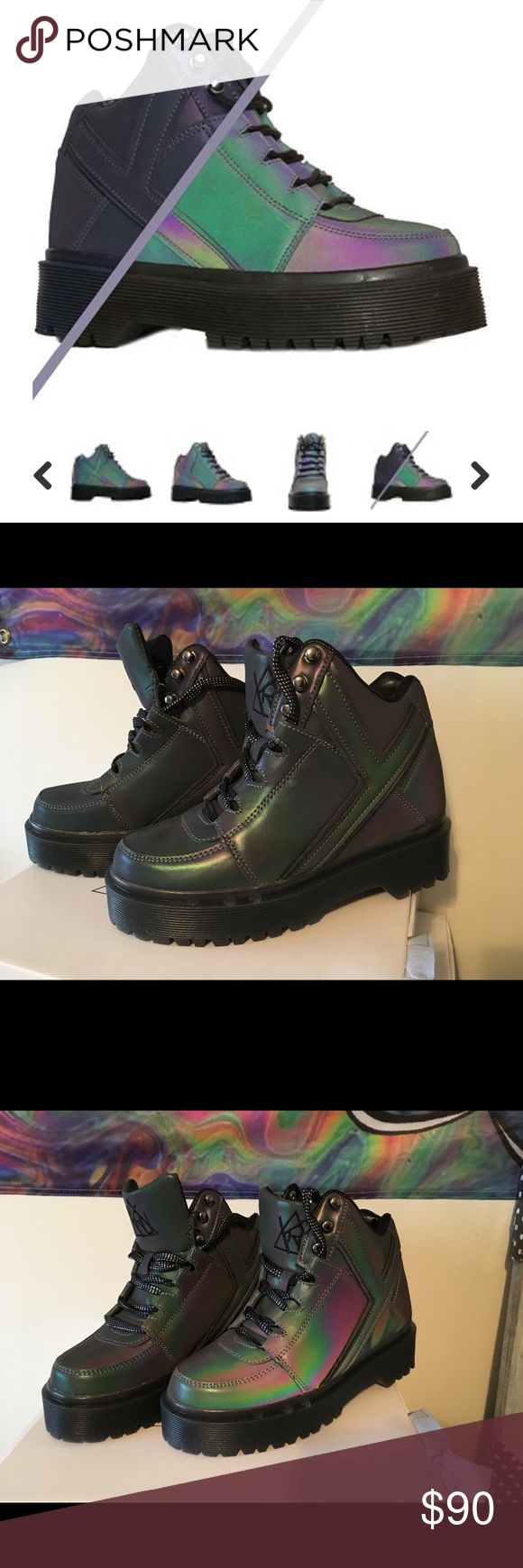 YRU QOMZO Slayr Reflective Boots (BRAND NEW) Ordered off of YRU website for $125 but the size was a little too big for me (usually wear a 6.5). Size 7, brand new never worn! 3rd pic is reflective in warm lighting YRU Shoes Combat & Moto Boots