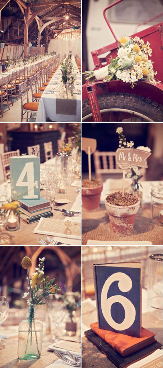 http://www.mariagesetbabillages.com/jolis-mariages/mariage-champetre-lisa-devlin    Numéros de table sur des vieux bouquins