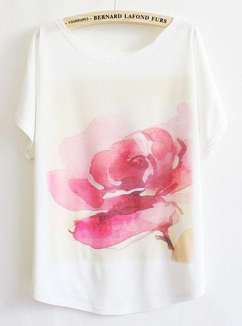 White Batwing Floral Pattern T-shirt - Sheinside.com