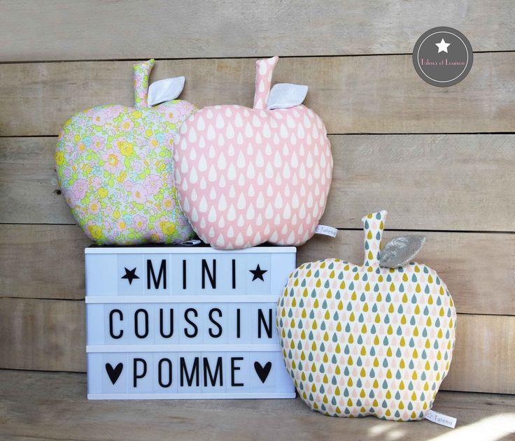 Mini coussin  pomme tissu goutte ou Liberty Betsy Beryl