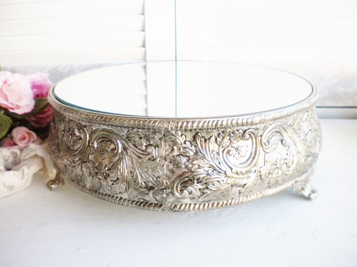 Vintage Round Silver Plate Tray With Mirror/ Mirror Tray/ Orante Footed Tray/ Wedding Cake Stand/Vanity Tray /Tea Party/ Home Deco/ by MyVingtique on Etsy