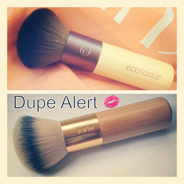 Eco tools bamboo bromzer brush (12.49) Vs Tarte's Airbrush Finish Bamboo Foundation Brush (32.00) | Purchased both at Ulta. About identical in size ! The hairs feel the exact same as well, extremely soft AND foundation application leaves the exact same flawless finish!