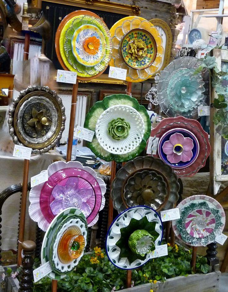 Plate Flower Bed. #257.                                   Garden Yard Art glass and ceramic plate flower