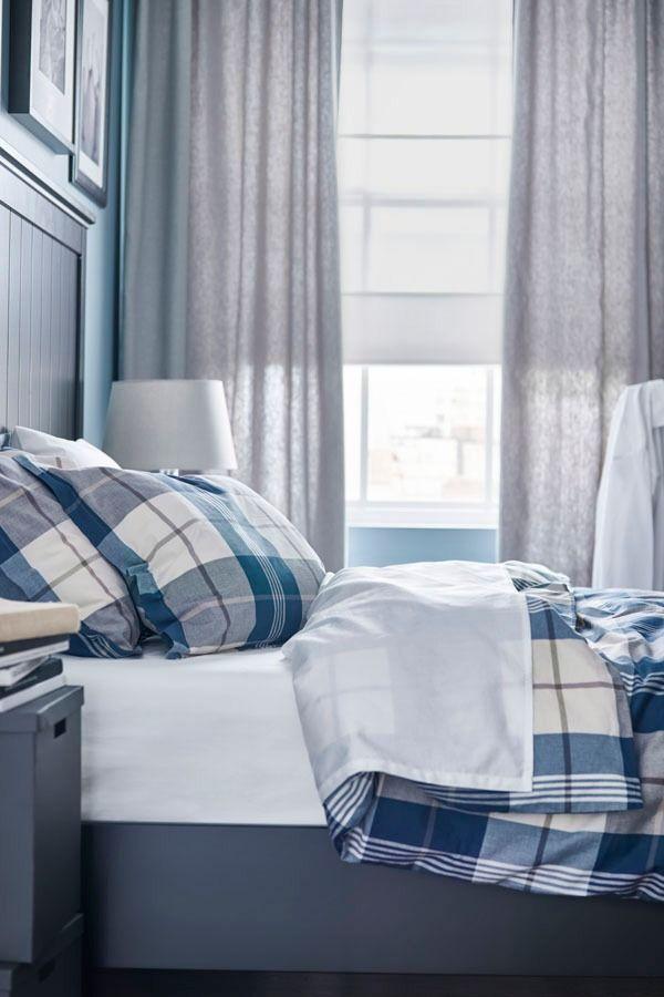 KUSTRUTA Duvet cover and pillowcase(s), blue check ...