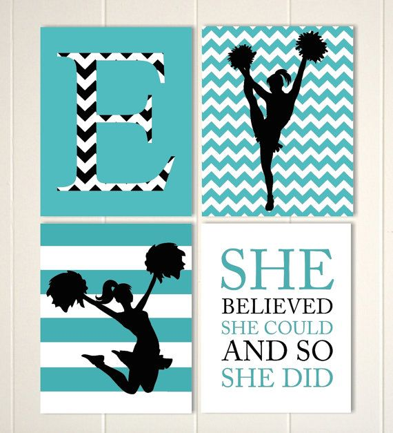 Cheerleader wall art, girls room cheer decor. girls wall art, chevron wall art, teen girl wall art, set of 4, choose your colors and sports by PicabooArtStudio