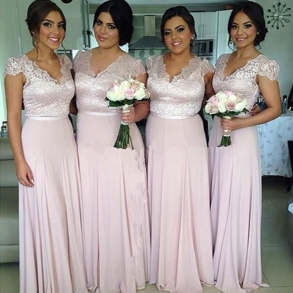 Lace Bodice V-neck Floor Length Long Bridesmaid Dresses,Plus Size Brid - SheerGirl