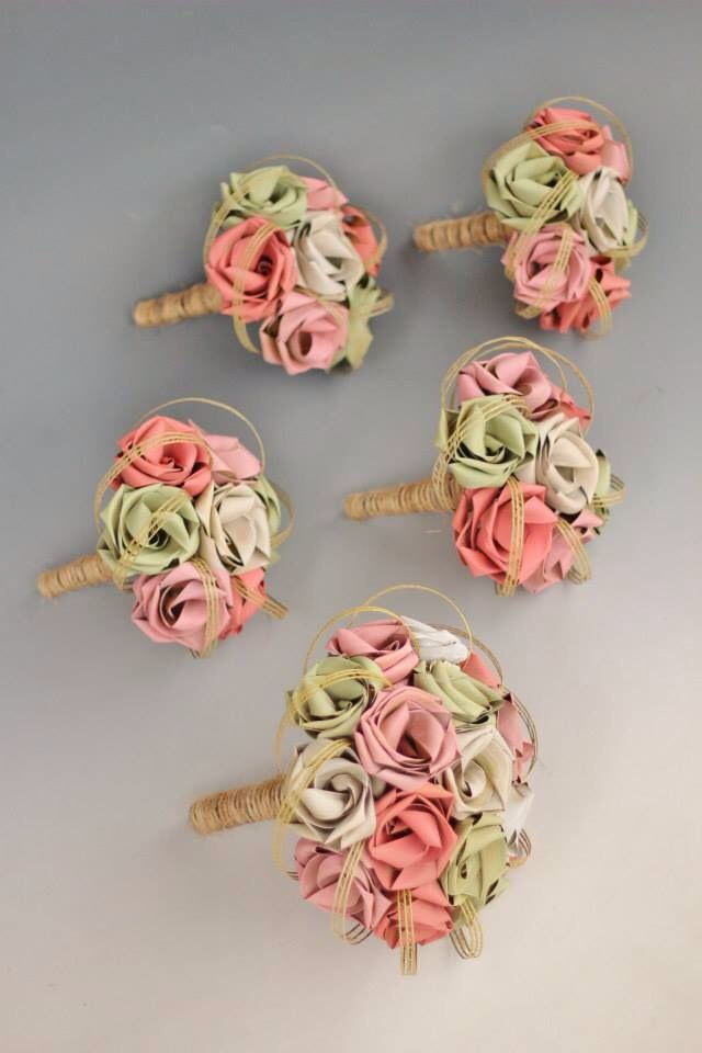 Rustic flax bouquets with twine wrapped stems. Flax flowers in peach, pink, soft sage and ivory.                           www.flaxation.co.nz