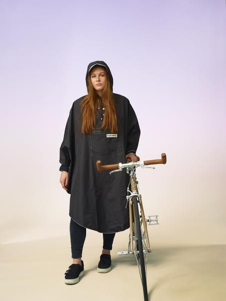 The ponchos from the 'hardy range' are made from three layers of hard-wearing and fully waterproof Japanese polyester. Trimmed with a drawstring hood, and detailed with a waterproof zippered chest pocket, these ponchos offer safety enhancing reflective piping, side buttons to aid manoeuvrability, and internal straps to hook onto bicycle handlebars or over hands so legs are protected from the rain if you are riding a bike. Packed into a dinky sack when out of use, this 400g rain champion...