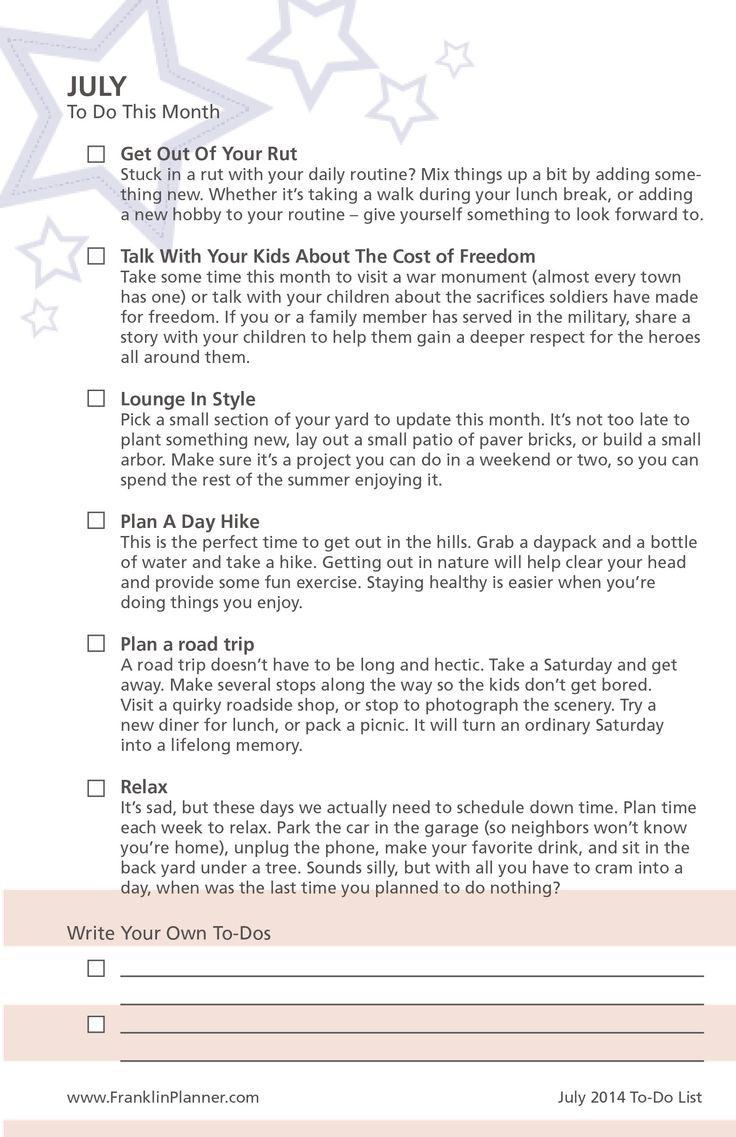 July To-Do Checklist for Summer