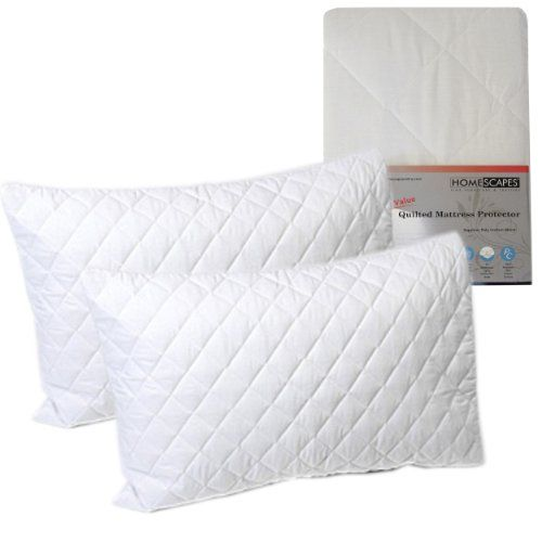 Limited Offer homescapes Polycotton Quilted Pillow Protectors 2 Pack (pair) Non Allergenic Bedding Protector Standard Size As Supplied To Hotels Bed And Breakfasts And Universities