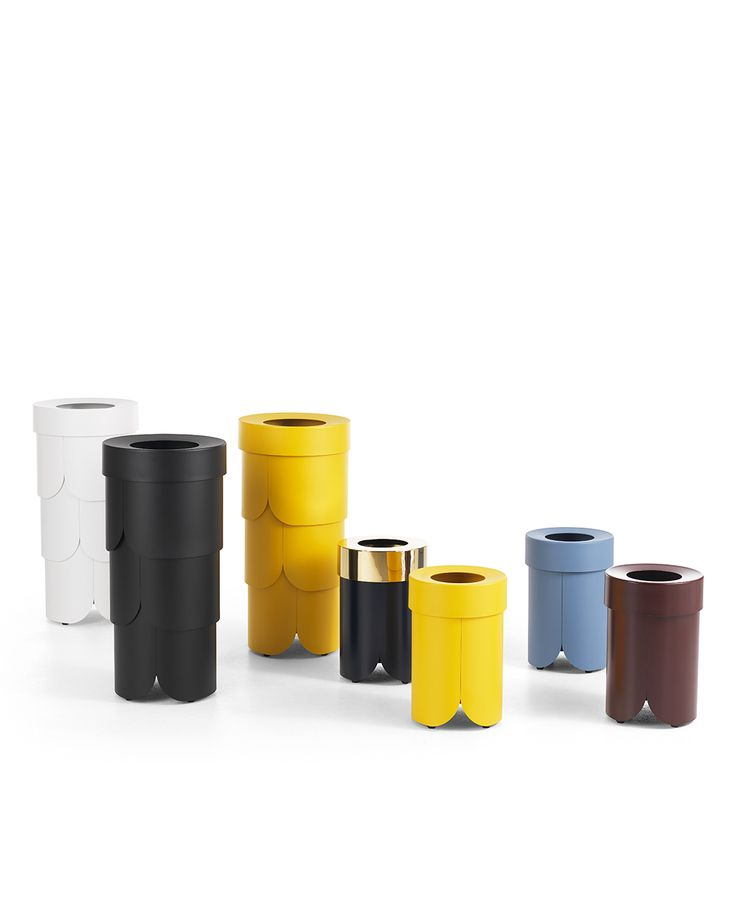 The Boss waste paper bin family, designed by Tuva Rivedal Tjugen for Lammhults.