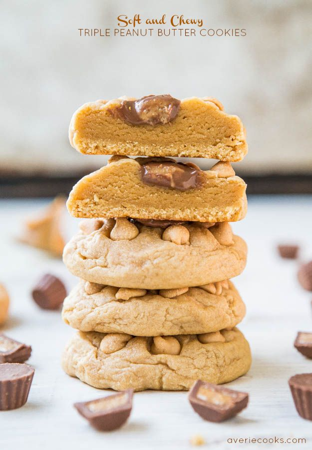 Soft & Chewy Triple Peanut Butter Cookies - PB is used 3 ways in these melt-in-your mouth cookies! Batch size of just 8 cookies when you don't 'need' dozens laying around!