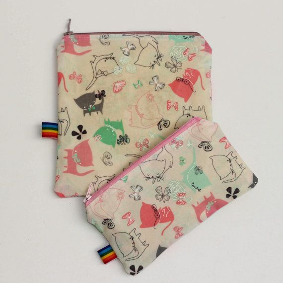 Reusable Snack Bags - Set of 2 Waxed Kitty Cat Snack Bags - Food Safe - All Nautral - Zero Waste Beeswax Bags - Gift for kids