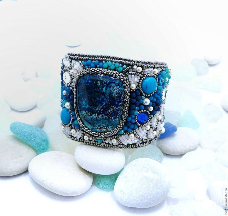 """Купить Браслет """" Морские волны"""". - голубой, Браслет с хризоколлой, стильное украшение, морские волны"""