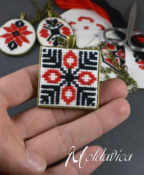 Ethnic embroidered necklace cross stitch folk pendant by Moldavica