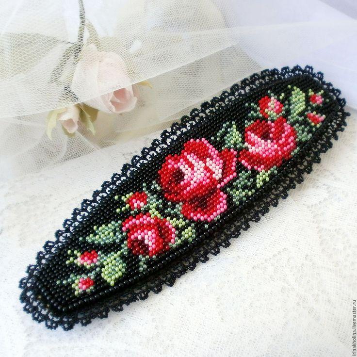 Купить Браслет из бисера Красные розы - браслет, браслеты, браслет на руку, браслет из бисера