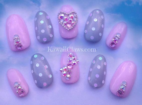 Pastel roze en grijs polka dots en Swarovski hart en Bow vol
