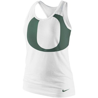 Nike Oregon Ducks Ladies Logo Tri-Blend Racerback Tank Top - White