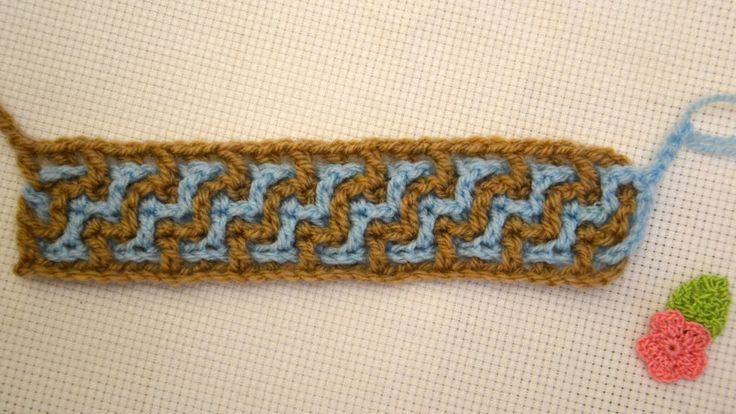 Узор с переплетениями. Тесьма, шнур из двух цветов.