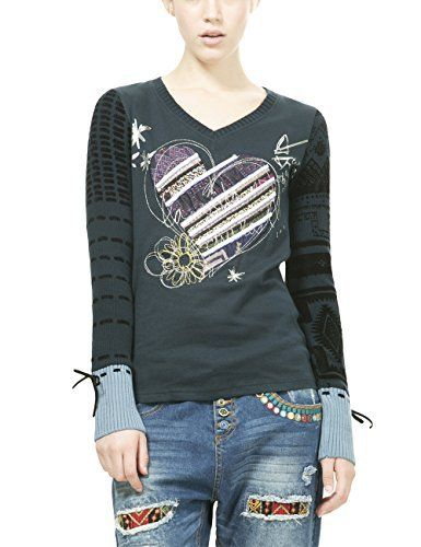 Desigual Canace, T-Shirt à Manches Longues Femme, Bleu (Marino), Medium (Taille Fabricant: M): Tweet –  Pull Desigual Canace – Manches…