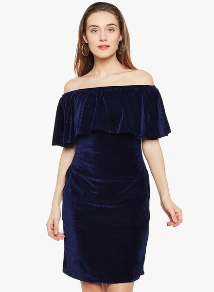8976bbf86867 Buy Athena Navy Blue Solid Off Shoulder Dress for Women Online India, Best  Prices, Reviews | AT732WA50VXCINDFAS