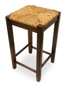 Bar Stool, 24-Inch Rush Seat Walnut Finish S/2, Set Of Two [Kitchen] # 94774
