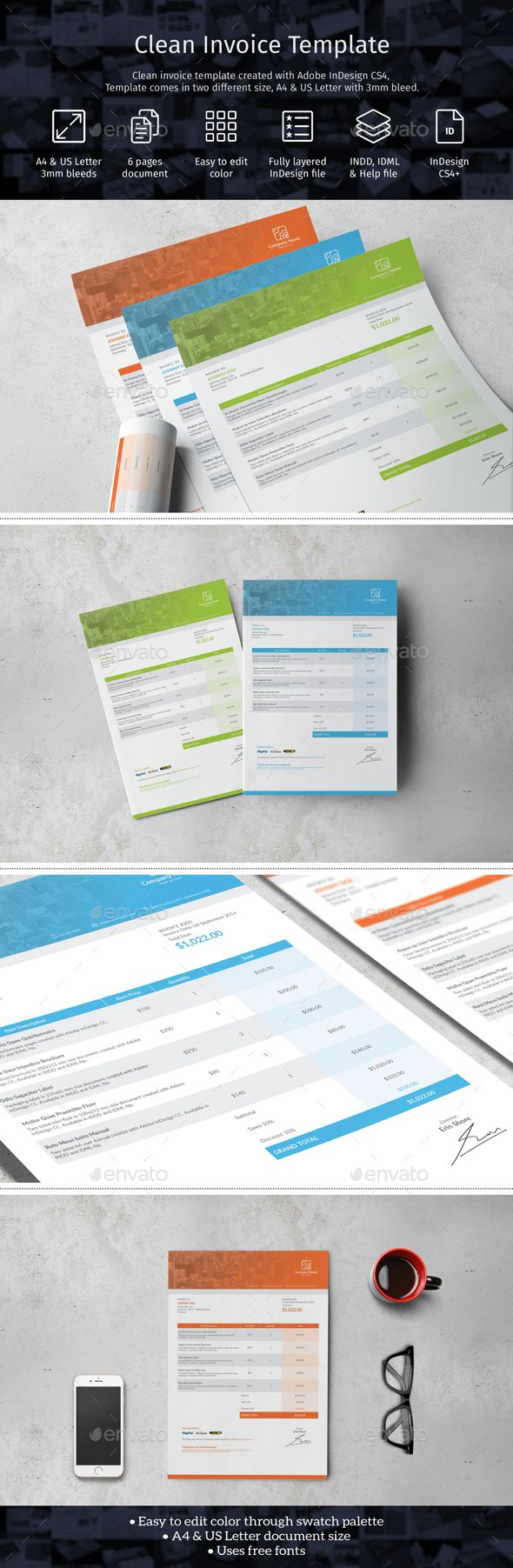 Clean Invoice Template by fisihsani Clean invoice template created with Adobe InDesign. Perfect for graphic design services, retail, and business. Template available
