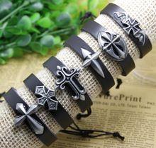 Бесплатная доставка черный смешанная крест ассорти манжеты реальные кожаные браслеты ювелирные изделия кожаный браслет(China (Mainland))
