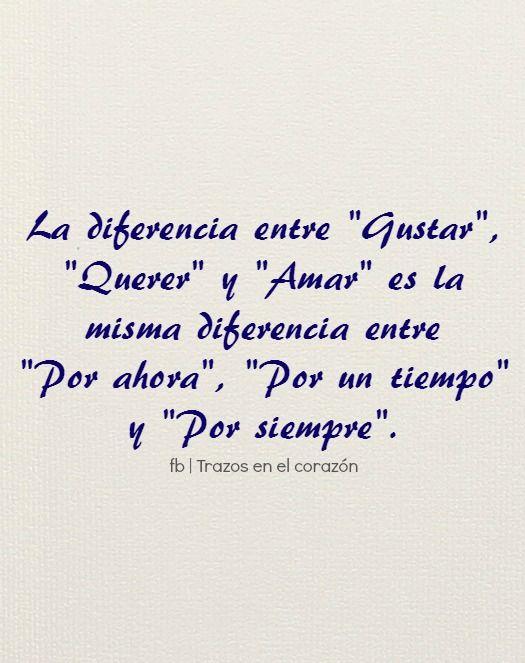 """La diferencia entre """"Gustar"""", """"Querer"""" y """"Amar"""" es la misma diferencia entre """"Por ahora"""", """"Por un tiempo"""" y """"Por siempre"""".  @trazosenelcorazon"""