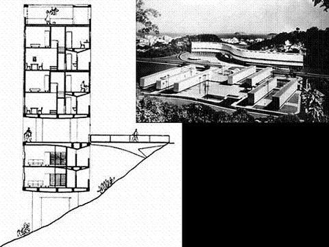 Affonso Eduardo Reidy - Conjunto Residencial da Marquês de São Vicente, 1952 - Corte transversal