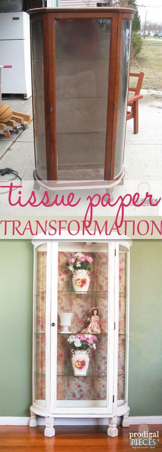 Vintage Curio Cabinet Gets Tissue Paper Transformation by Prodigal Pieces www.prodigalpieces.com #prodigalpieces