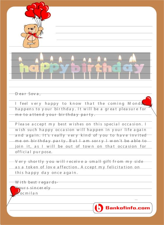 Here We Provide All Types Birthday Letter Sample Format