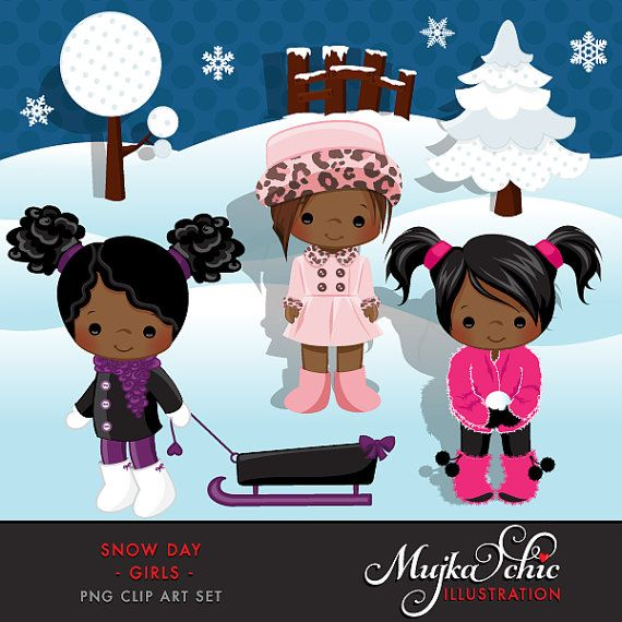 Snow Day Clipart African American Girls Instant Download Winter Outdoor Graphics with cute characters