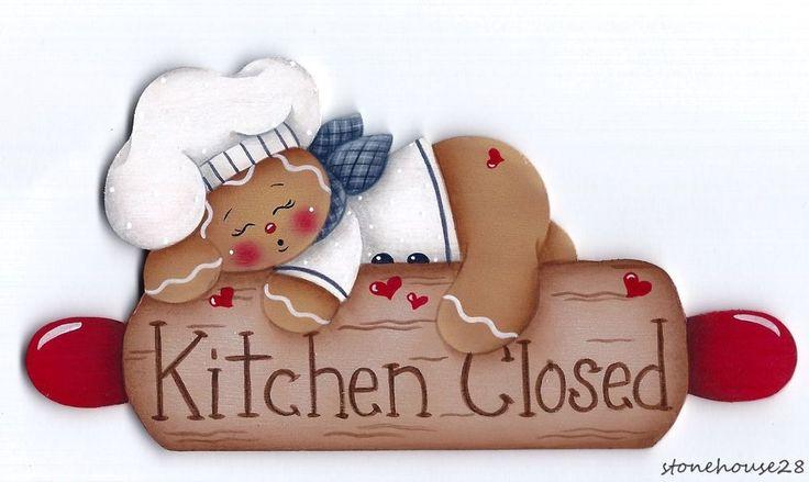 "HP GINGERBREAD ""Kitchen Closed"" FRIDGE MAGNET #Handpainted"