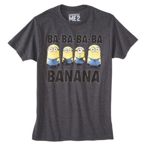 DESPICABLE-ME-2-Mens-Gray-Minion-BA-BA-BA-Banana-Tee-T-Shirt-S-XXL-Brand-New